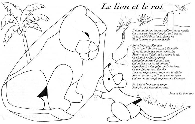Lion rat lafontaine coloriage les fables de lafontaine - Dessin le lion et le rat ...