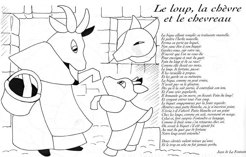 Loup chevre chevreau lafontaine coloriage les fables de - Dessin chevreau ...