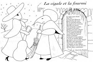 coloriage-cigale-fourmi-lafontaine free to print