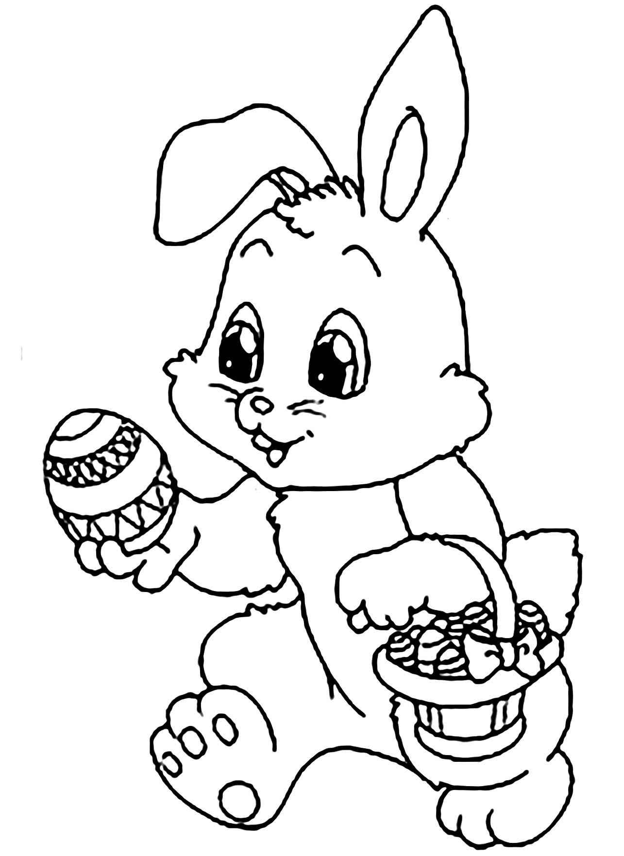 Le panier de ce petit lapin est rempli d'oeufs !
