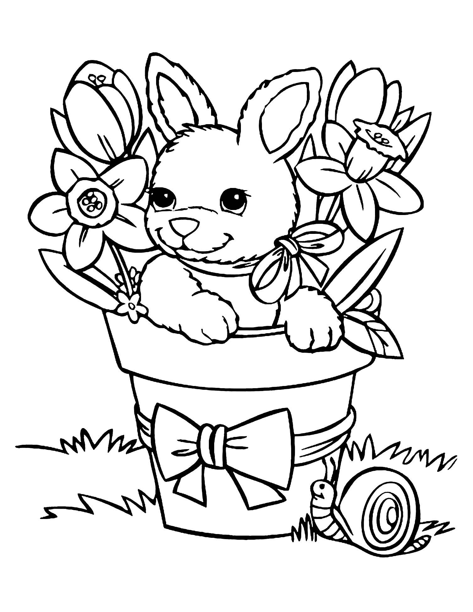 Joli coloriage de lapin simple pour enfants