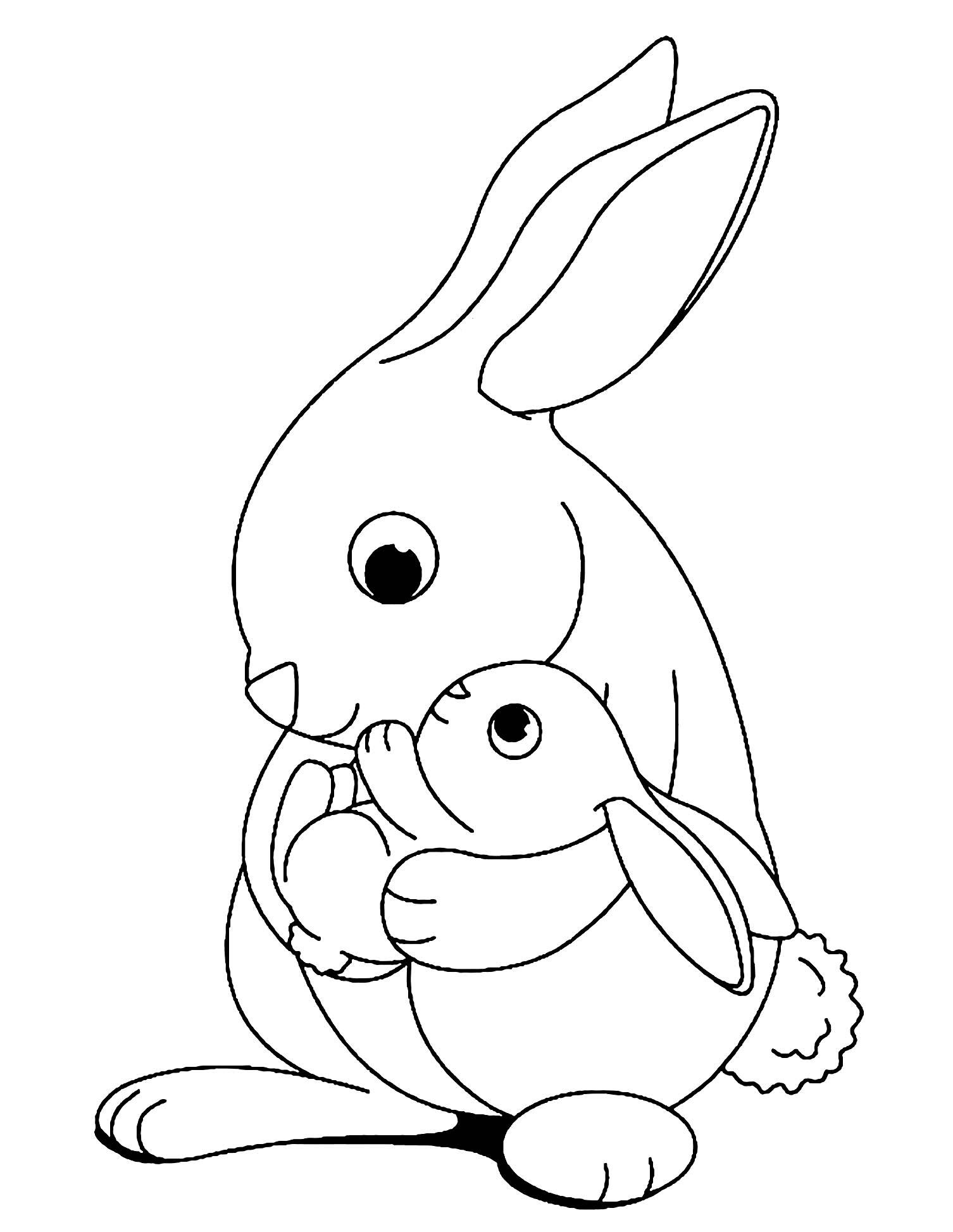 Préparez vos crayons et feutres pour colorier ce coloriage de lapin