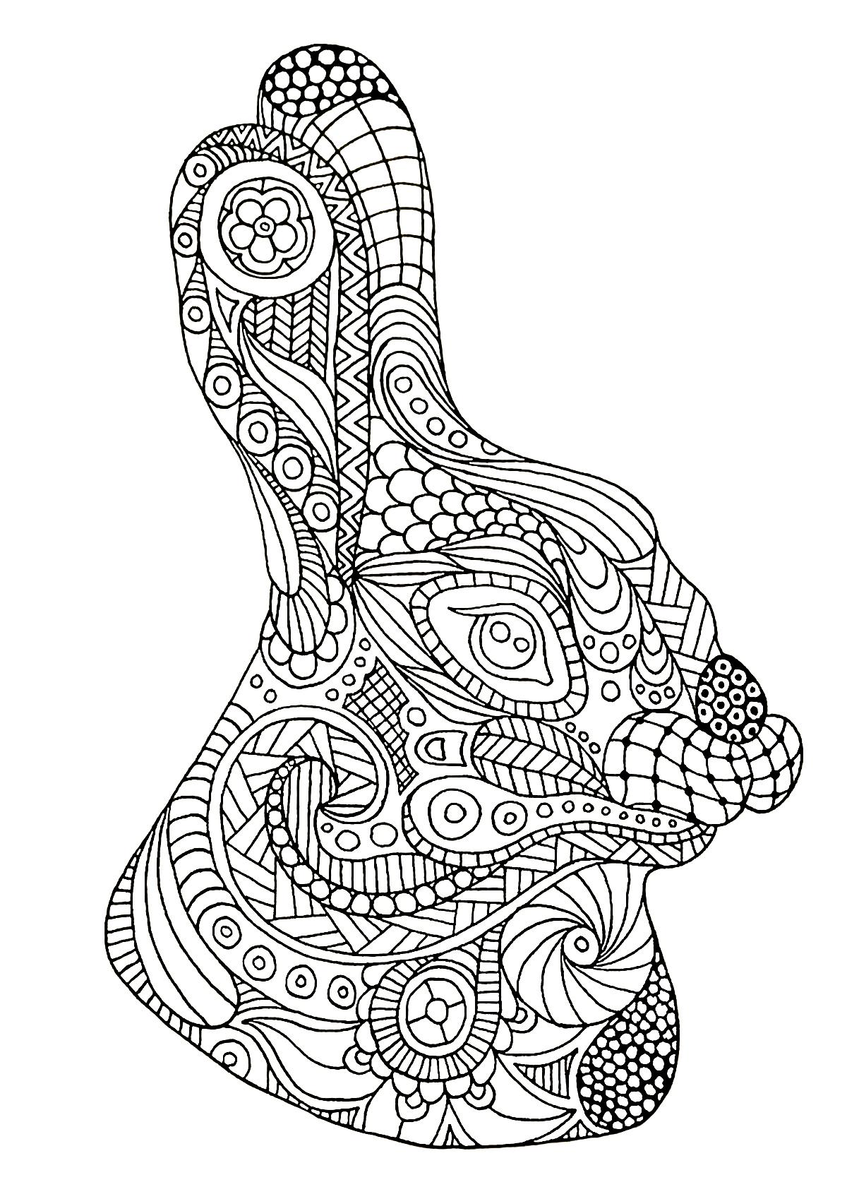 Coloriage tête de lapin (Zentangle)