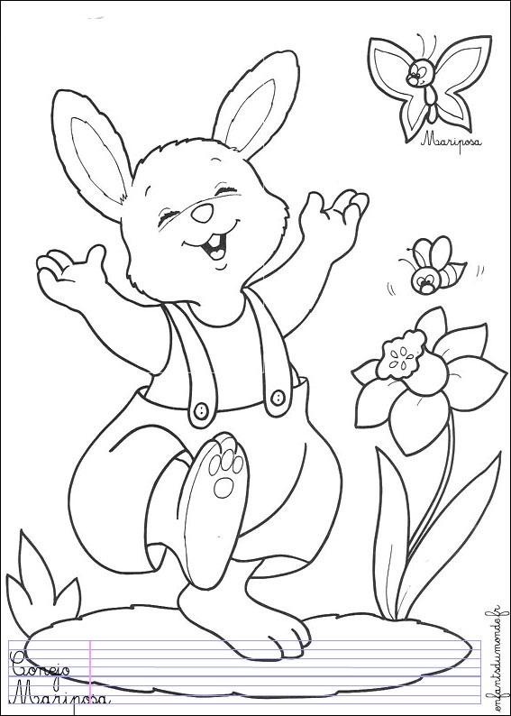 Lapin 1 coloriage de lapins coloriages pour enfants - Lapin en dessin ...