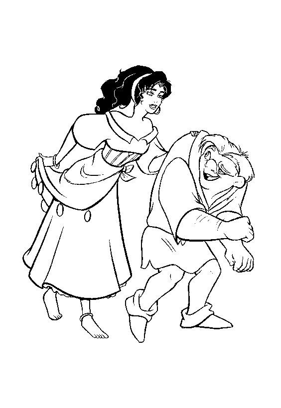 Coloriage d'Esméralda avec Quasimodo (Bossu de Notre Dame de Disney)