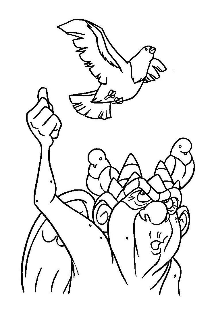 Gargouille et oiseau à colorier