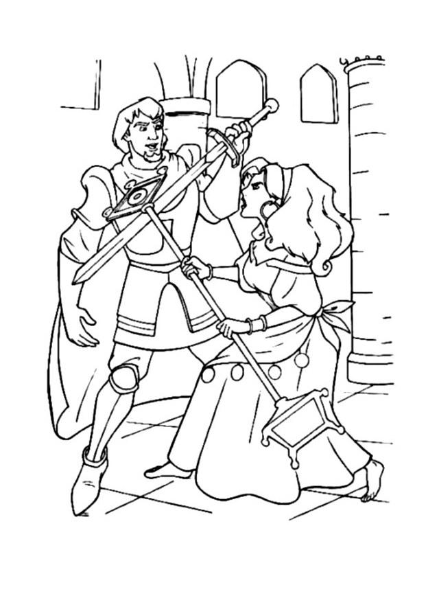 Coloriage de Phoebus avec Esmeralda
