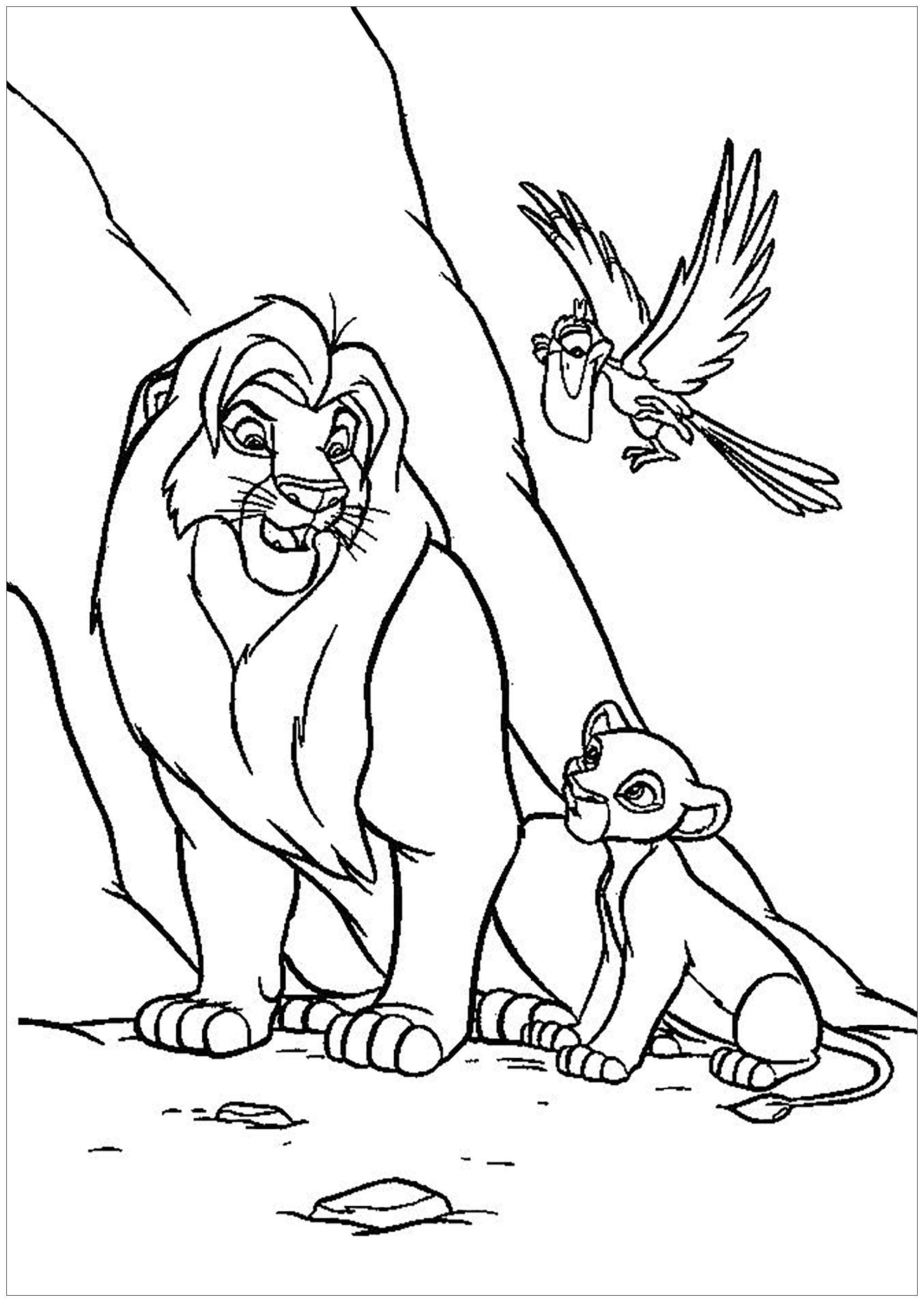 Coloriage du Roi Lion (classique Disney) avec Mufasa et Simba, avec Zazu