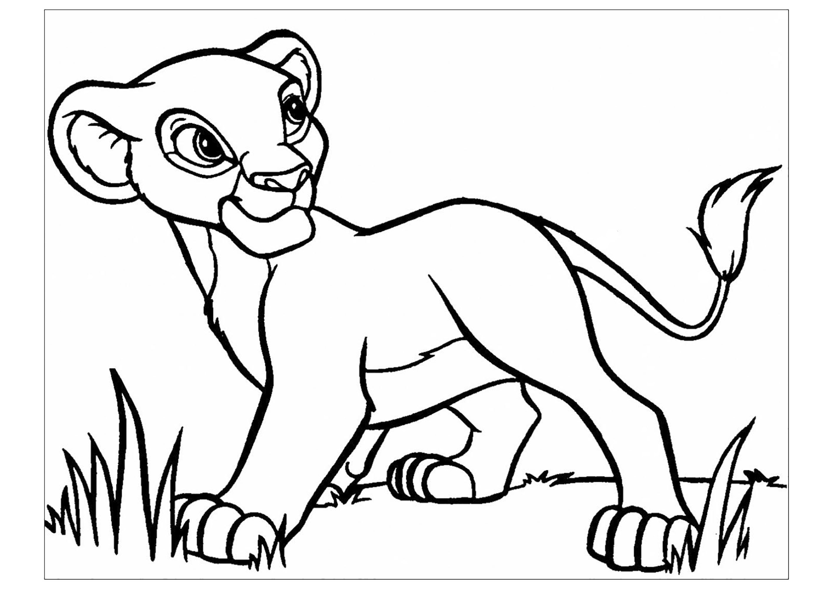 Coloriage simple du Roi Lion avec le jeune Simba