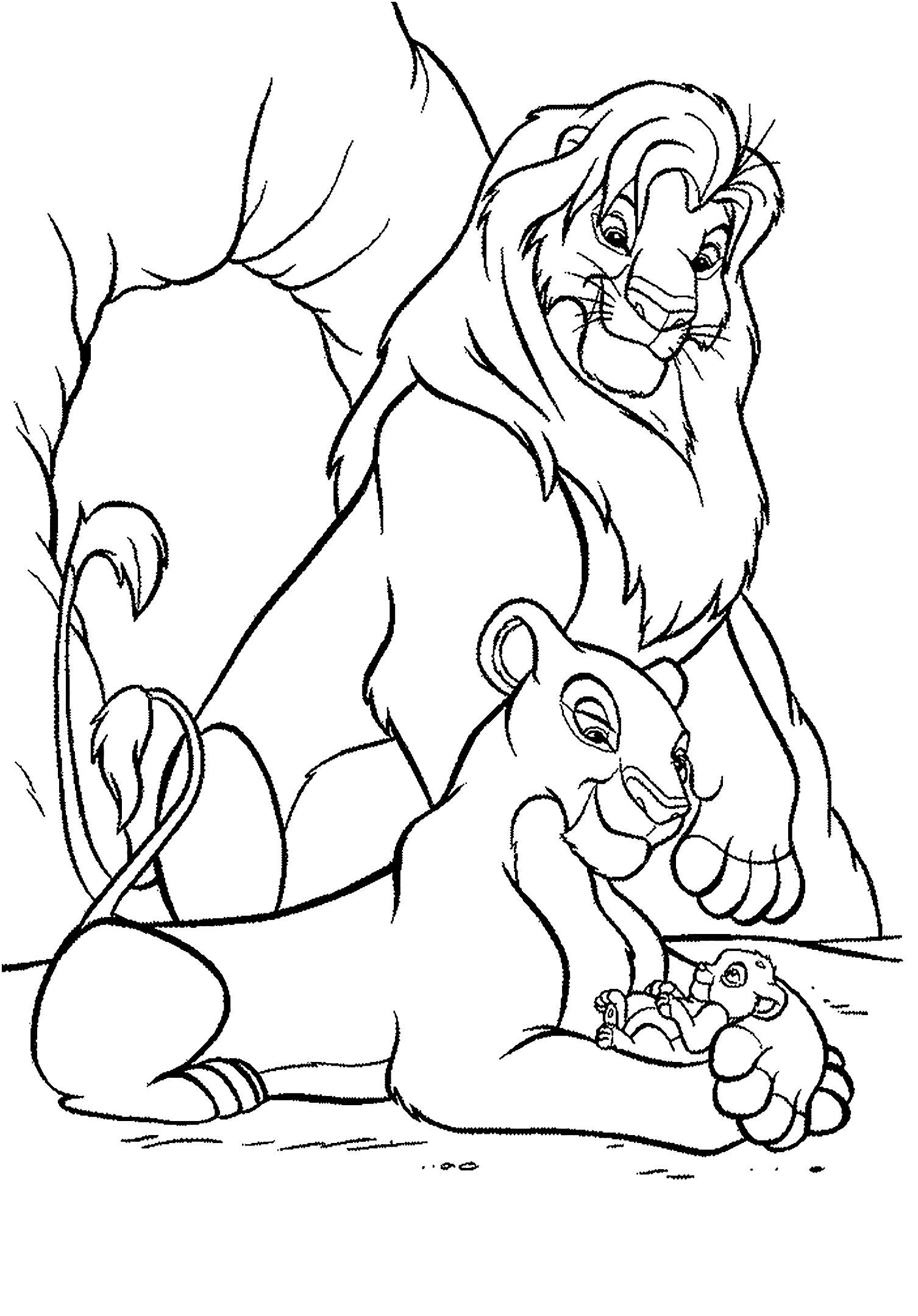 Coloriage du Roi Lion (Disney) avec Nala, Mufasa et Simba