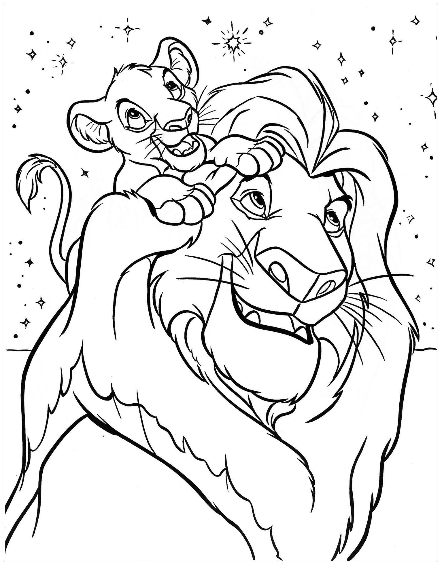 Coloriage facile du Roi Lion avec Simba et son père