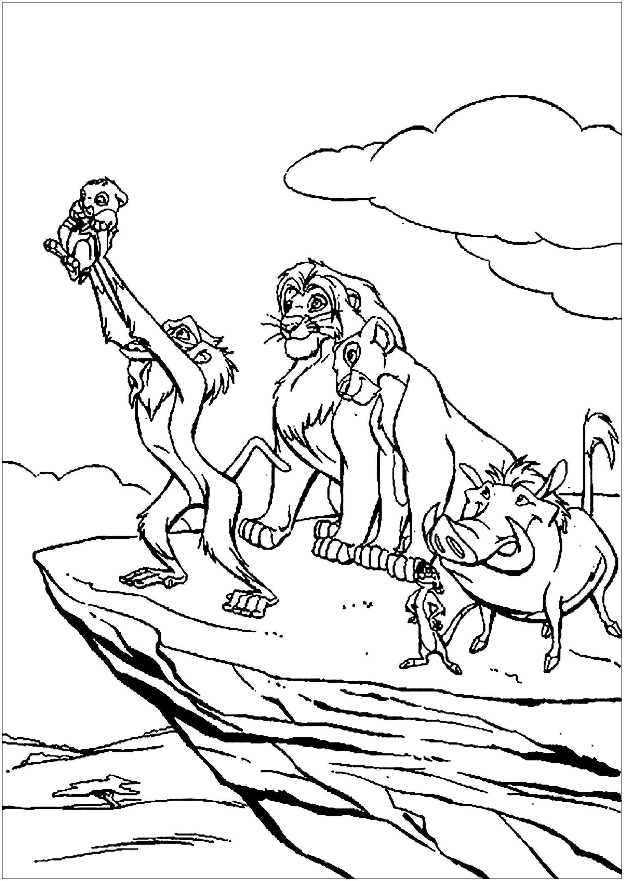 Rafiki baptise Simba - Coloriage Le roi lion - Coloriages pour enfants