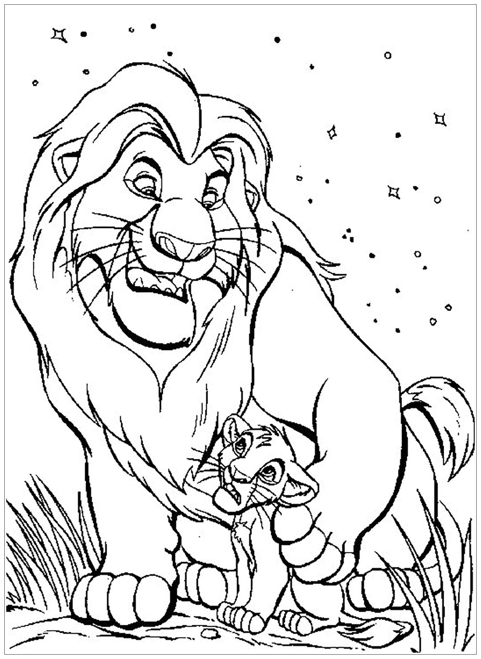 Magnifique coloriage du Roi Lion : Mufasa et Simba