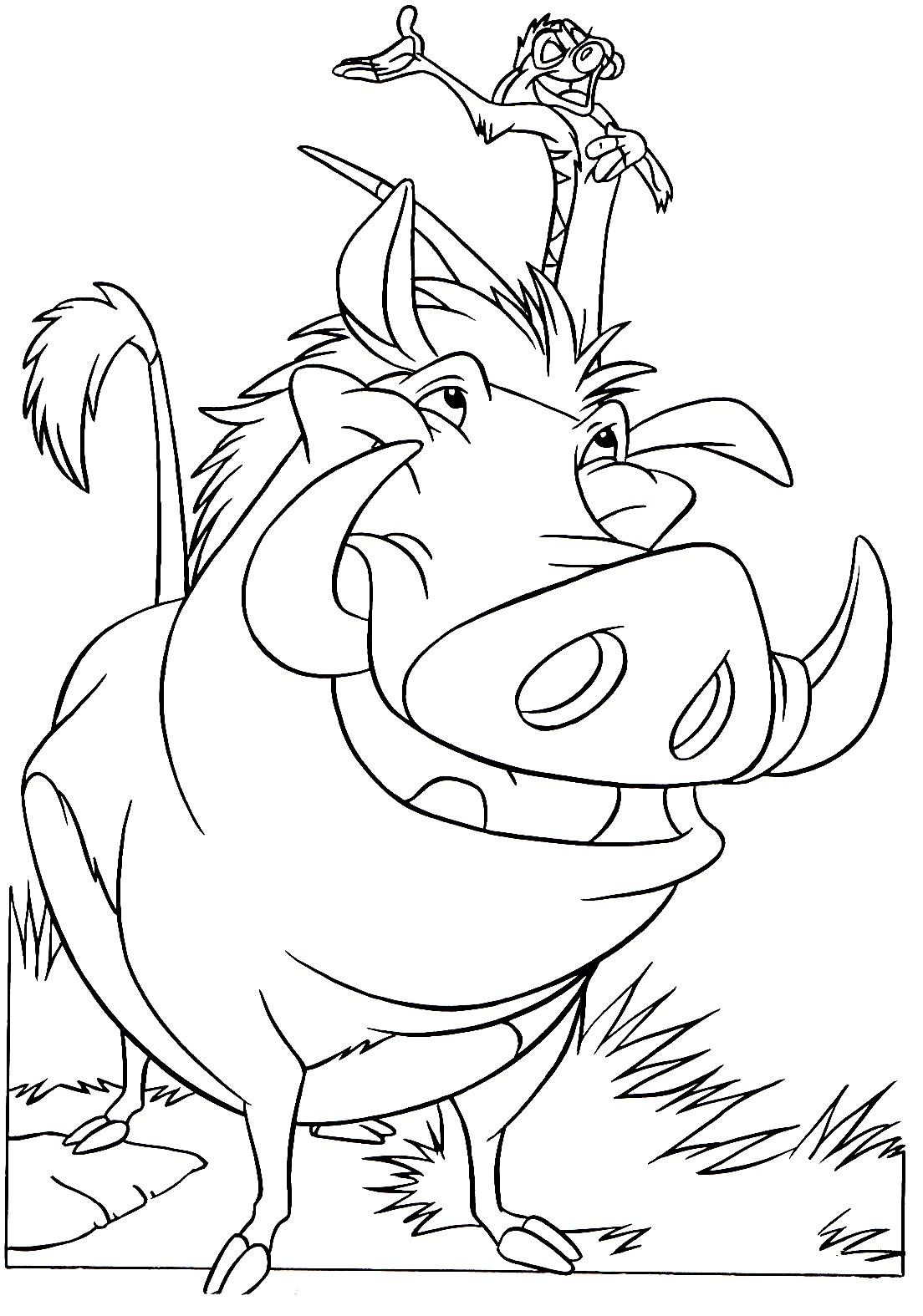 Dessin du Roi Lion à imprimer et colorier avec le jeune Simba