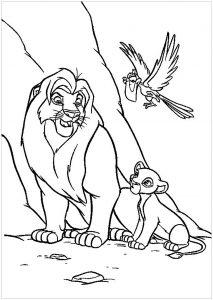 Mufasa et Simba, avec Zazu