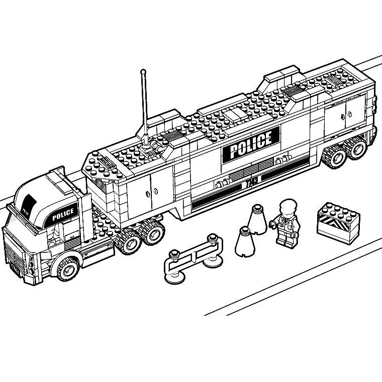 Coloriage Camion Lego.Camion Police Lego Coloriage Legos Coloriages Pour Enfants