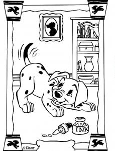 Coloriage de Les 101 Dalmatiens à colorier pour enfants