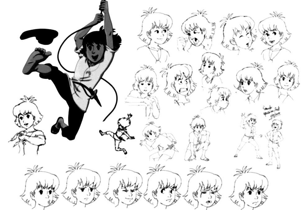 Coloriage de diverses expressions de visage d'Esteban