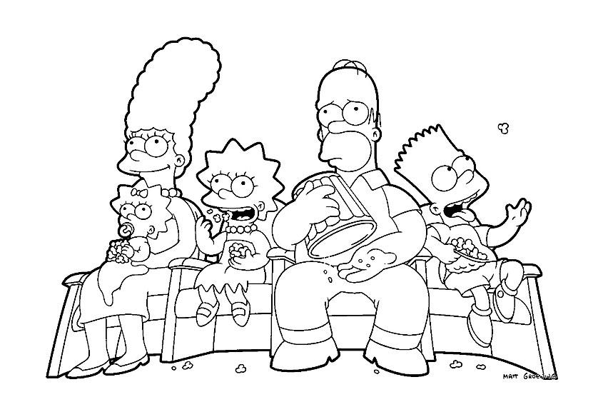 Coloriage de Les Simpsons simple