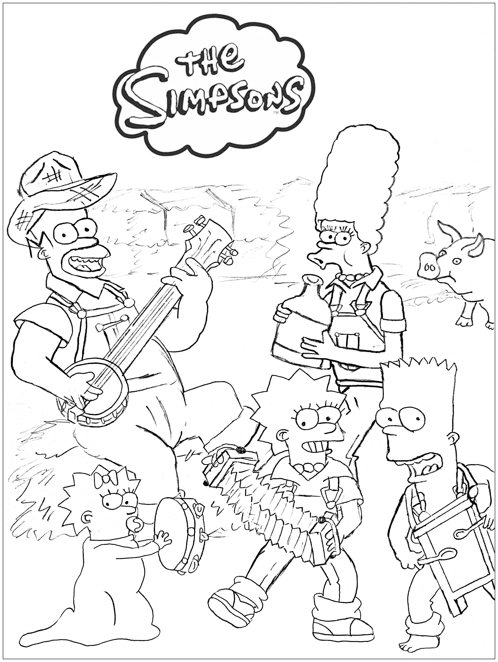 Les simpsons a la ferme coloriage simpsons coloriages - Coloriage simpson a imprimer ...