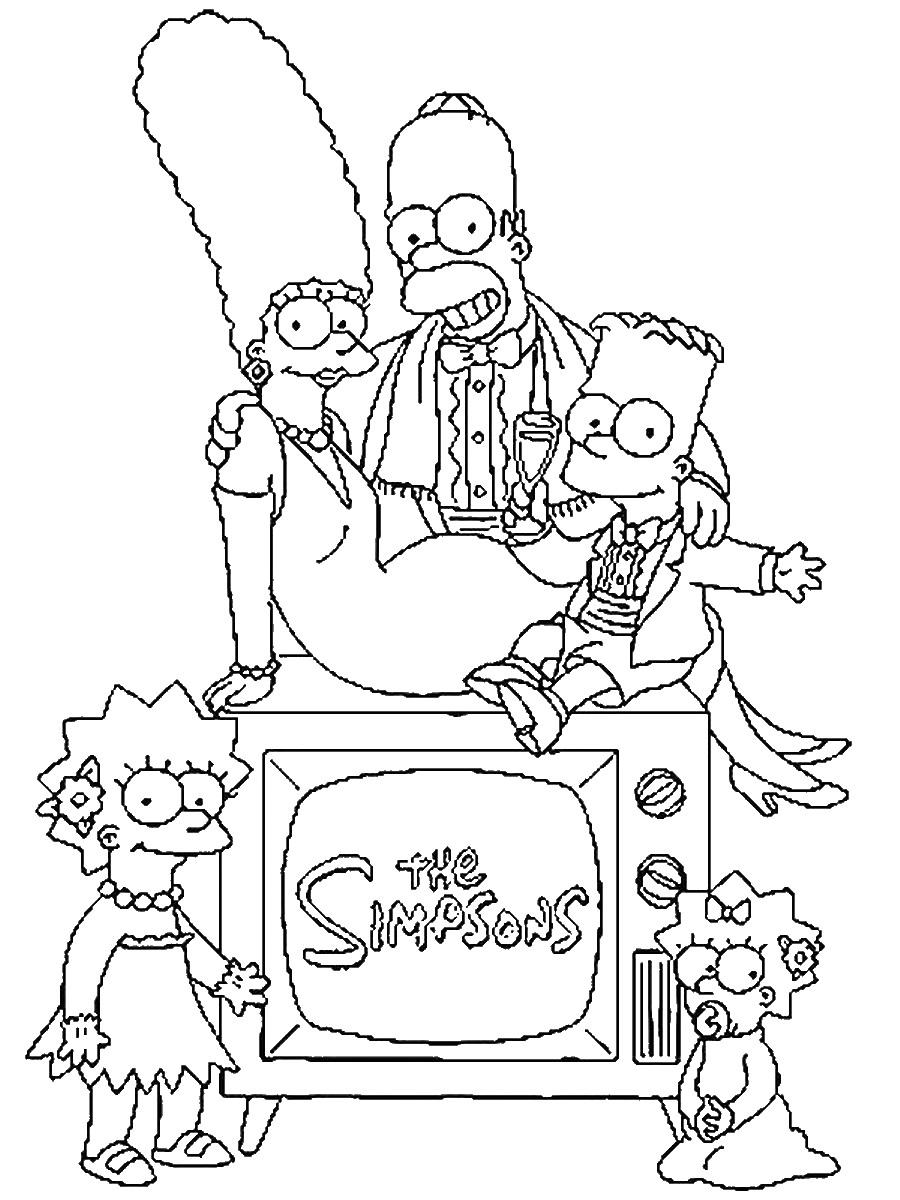 Homer, Marge, Liza, Maggie et bien sûr Bart sur leur TV !
