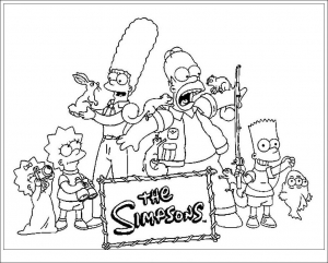 Coloriage simpsons bart homer marge lisa 1