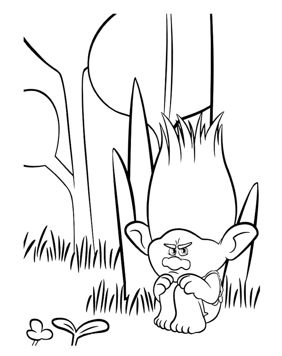 Les trolls branche triste coloriage les trolls coloriages pour enfants - Dessin de troll ...