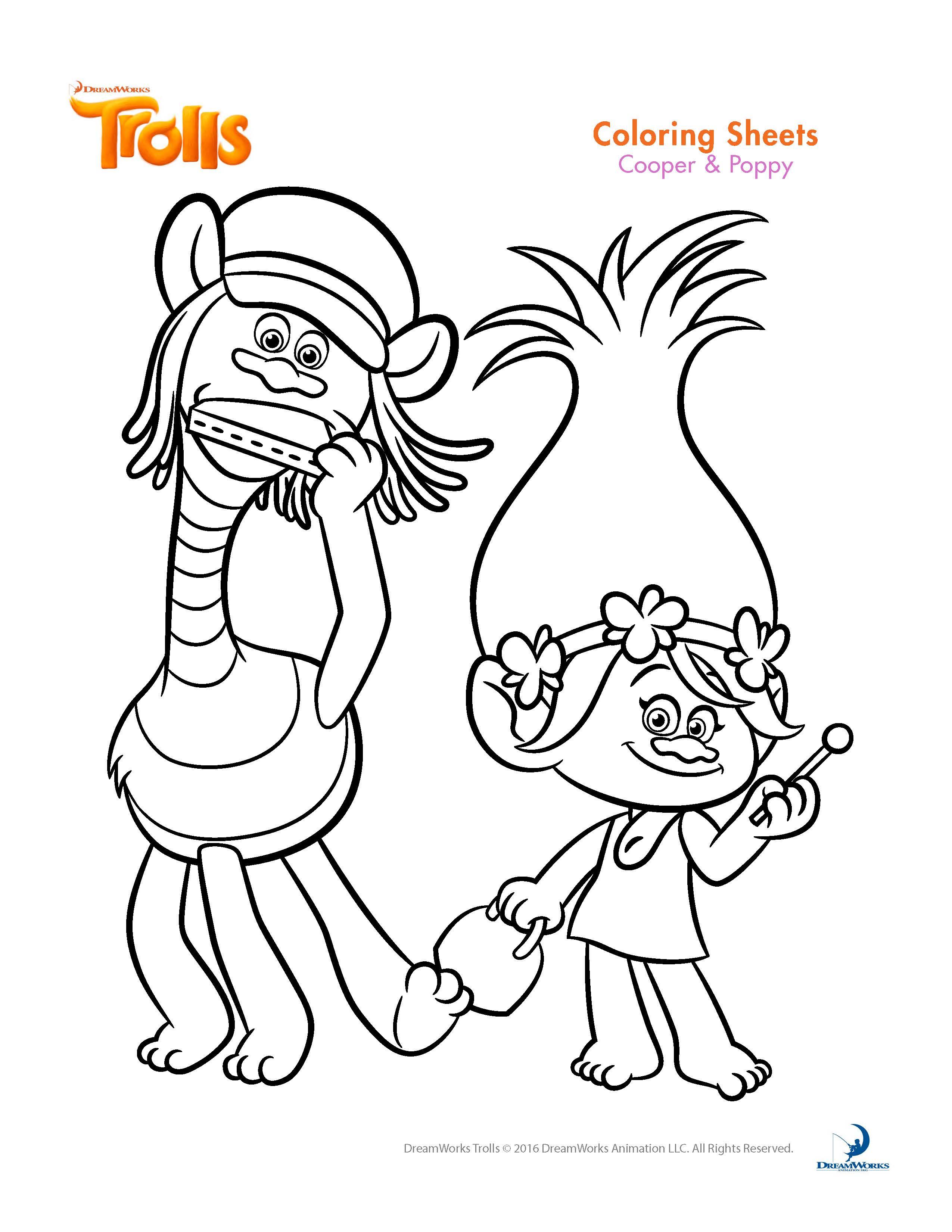 Coloriage sympathique de Poppy et Cooper