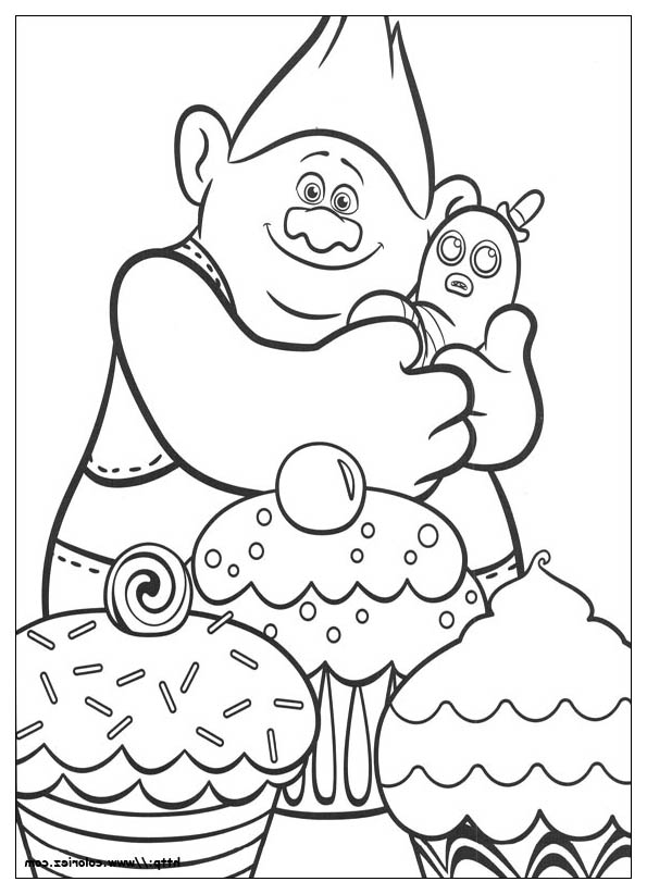 Trolls biggie cup cakes coloriage les trolls for Trolls coloring pages dj suki