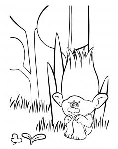 coloriage les trolls branche triste