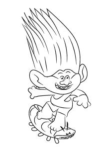 coloriage les trolls branche