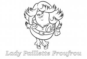 Coloriage les trolls lady paillette froufrou avec texte