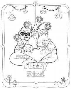 coloriage-les-trolls-mister-fuzzy-friend free to print