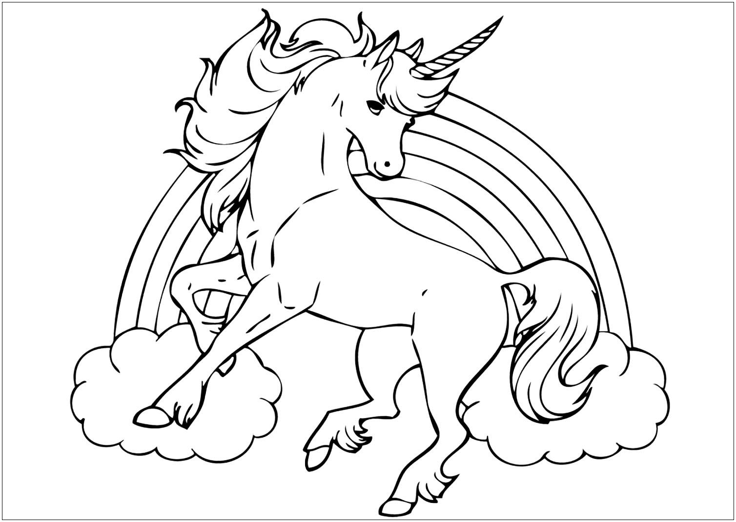 Coloriage de licorne à imprimer - Coloriage de Licornes ...