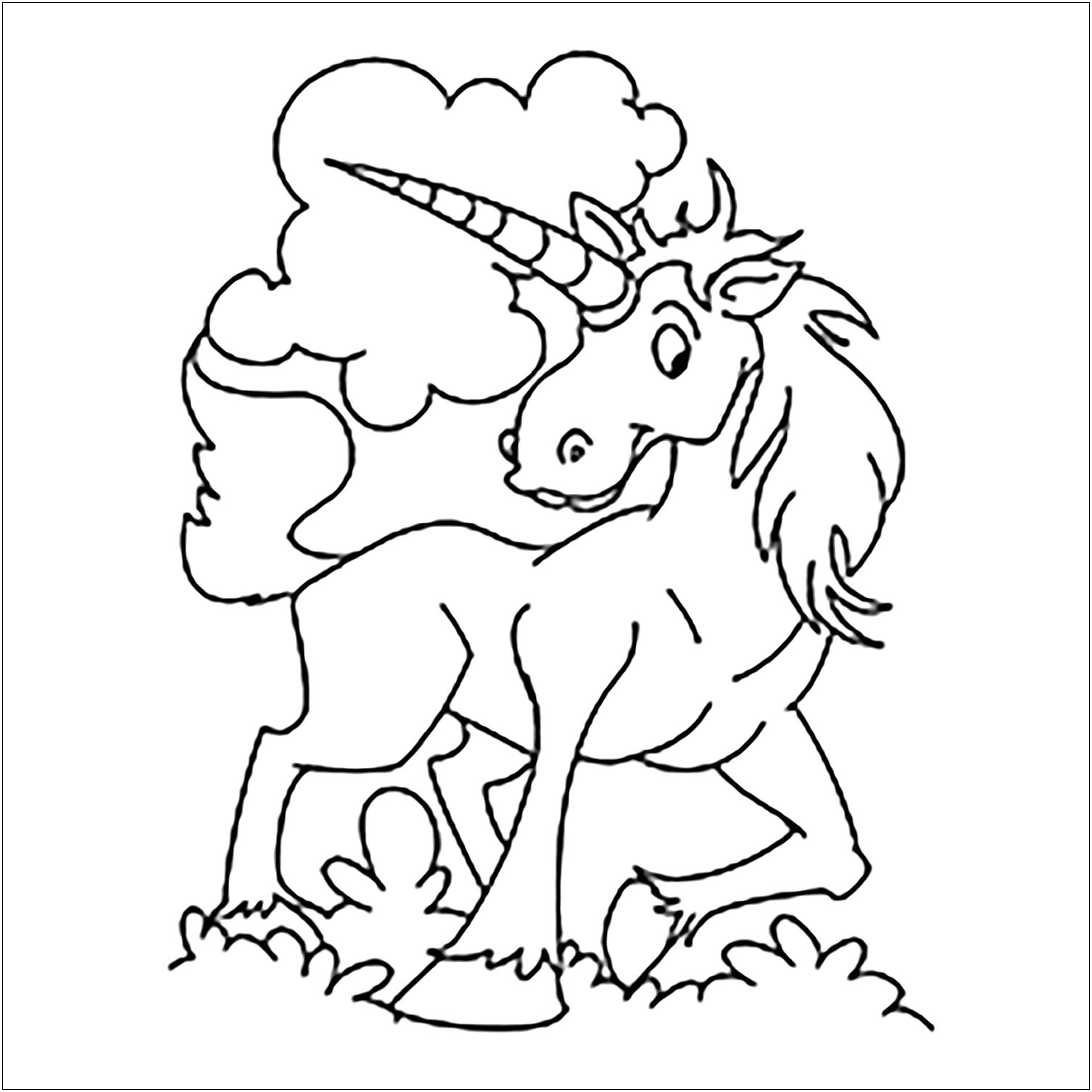 Coloriage de licorne pour enfants - Coloriage de Licornes ...