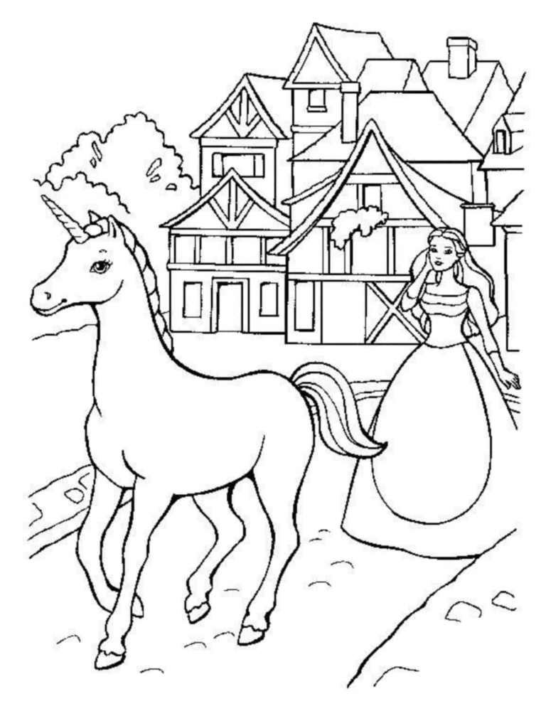 Coloriage Princesse Avec Licorne.Licorne 2 Coloriage De Licornes Coloriages Pour Enfants