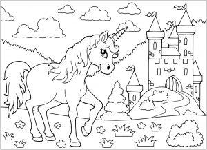 Coloriage enfant licorne 1