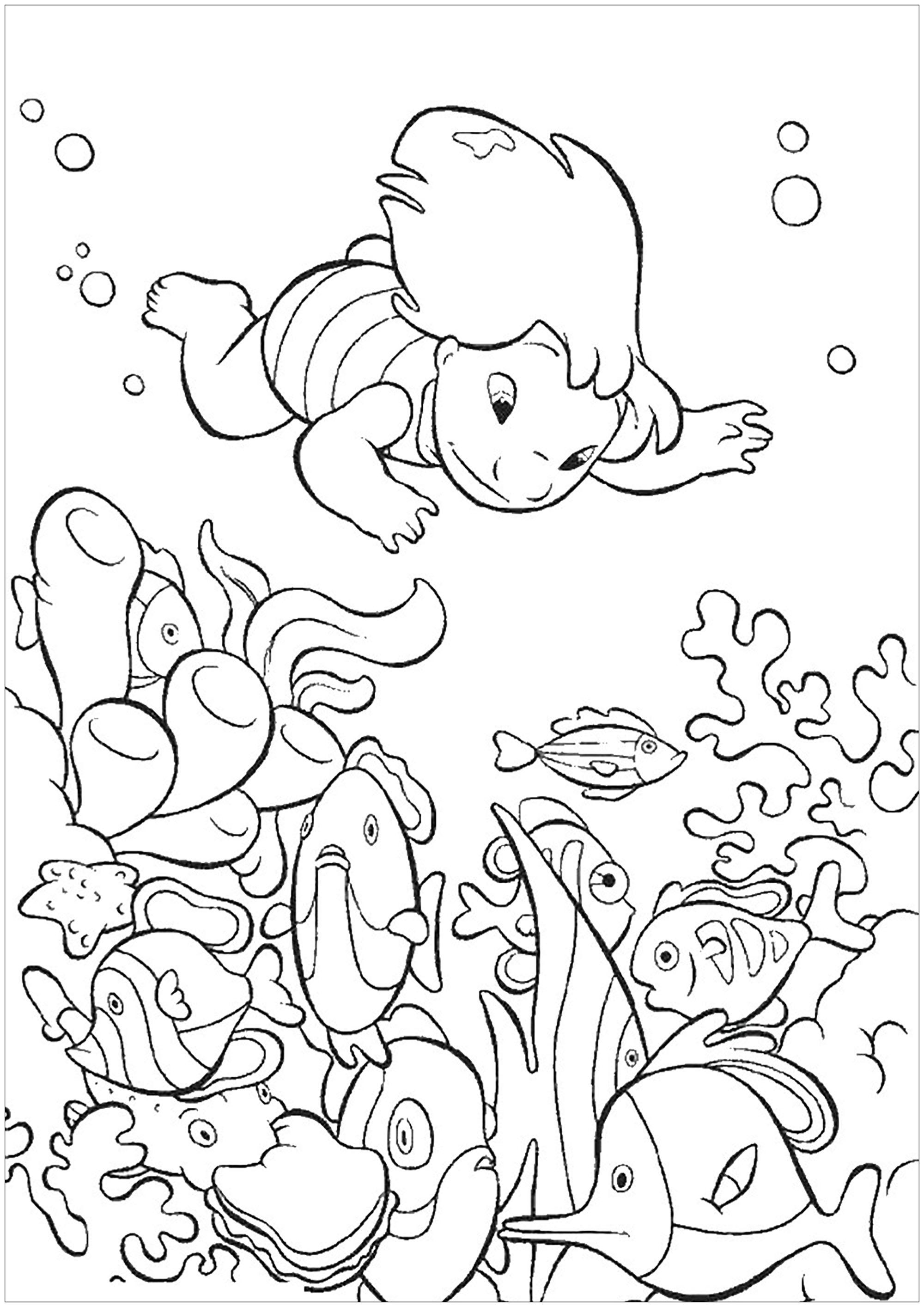 Simple coloriage Lilo et stich pour enfants