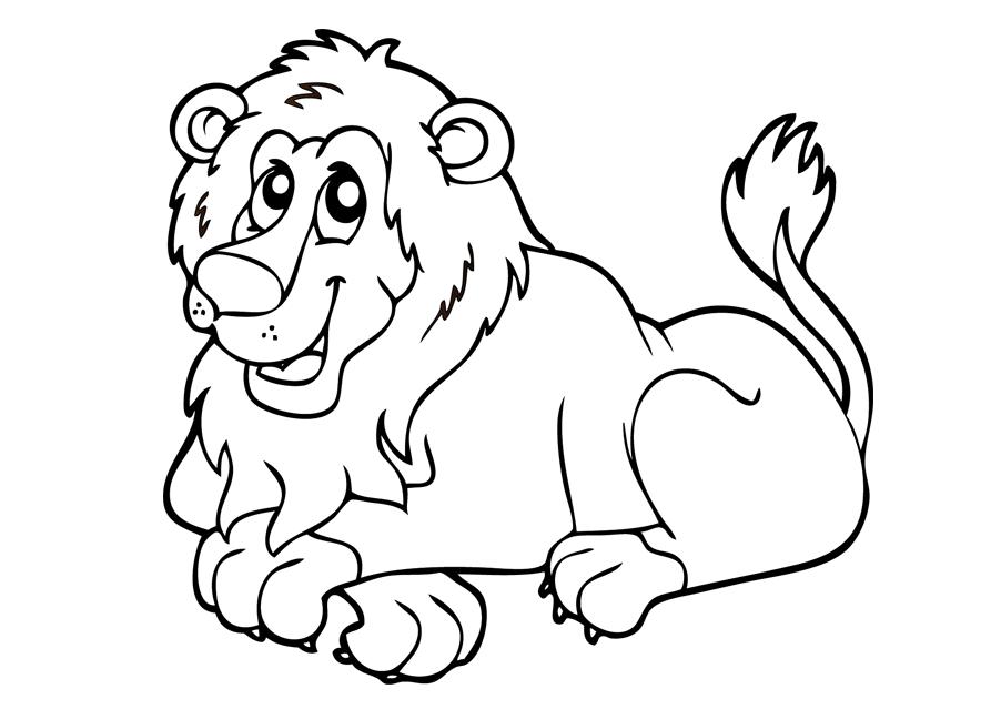Coloriage d'un petit lion souriant