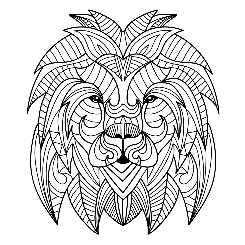 Une jolie tête de lion dans le style mandala, sans fond