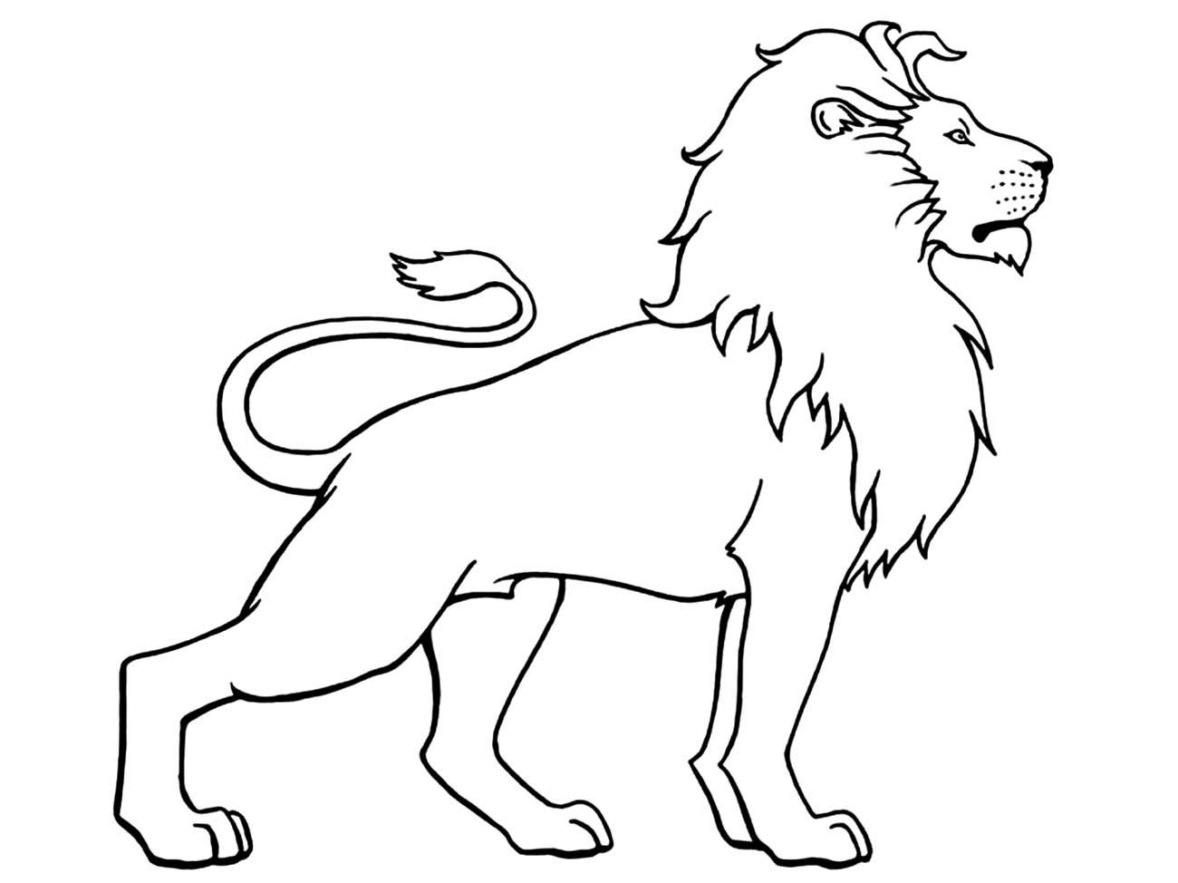 Lion debout - Coloriage de lions - Coloriages pour enfants