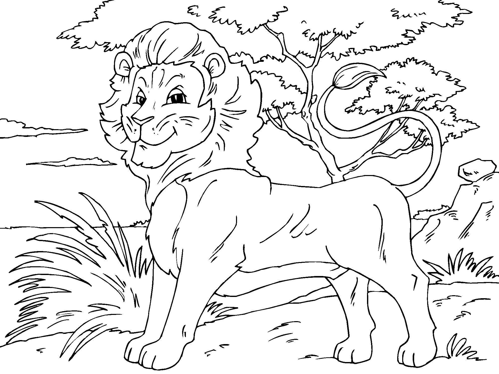 Coloriage de Lion avec plein de détails