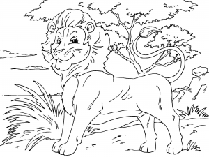 Coloriage lion 4