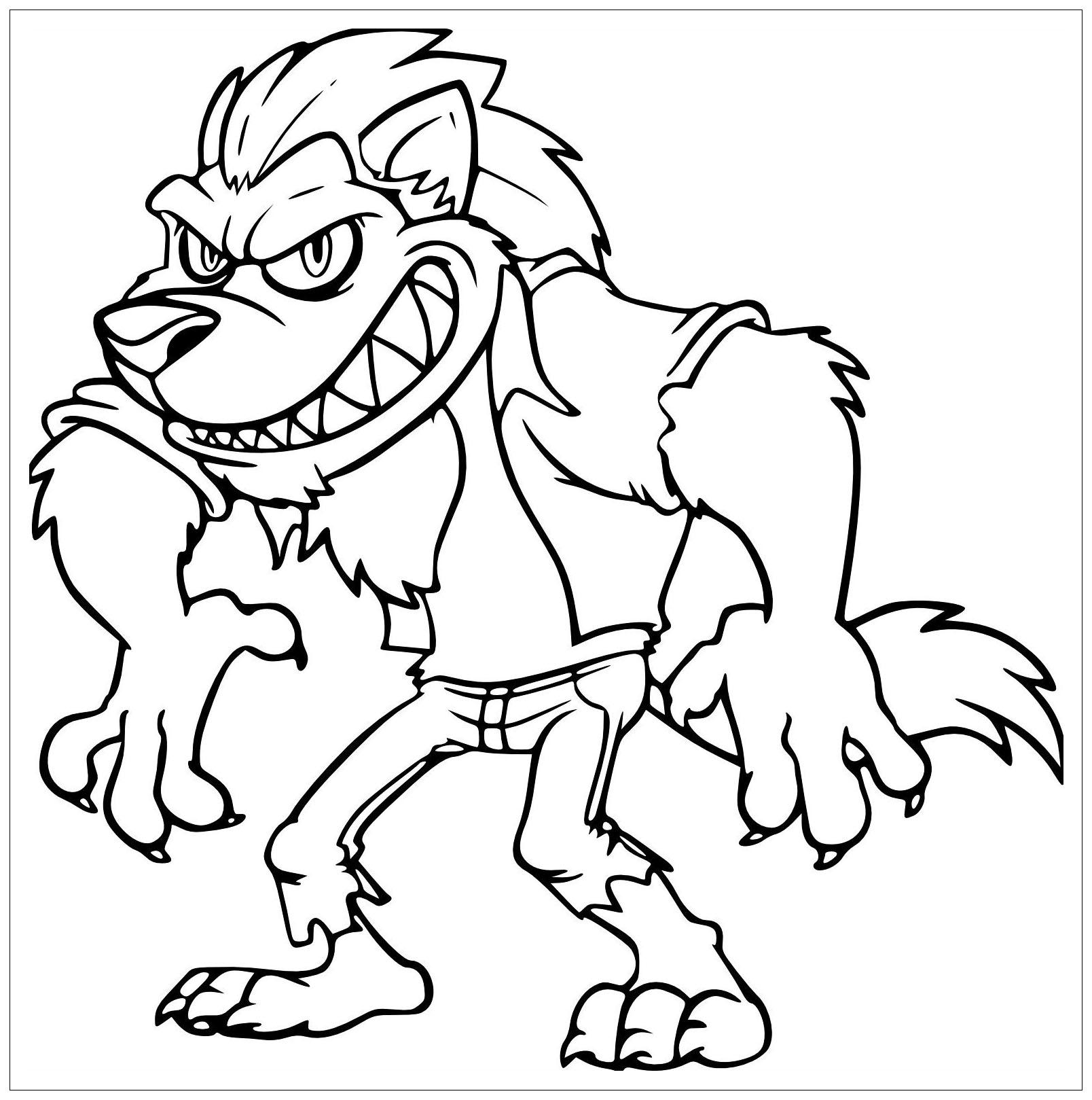 Coloriage d'un loup à gros bras
