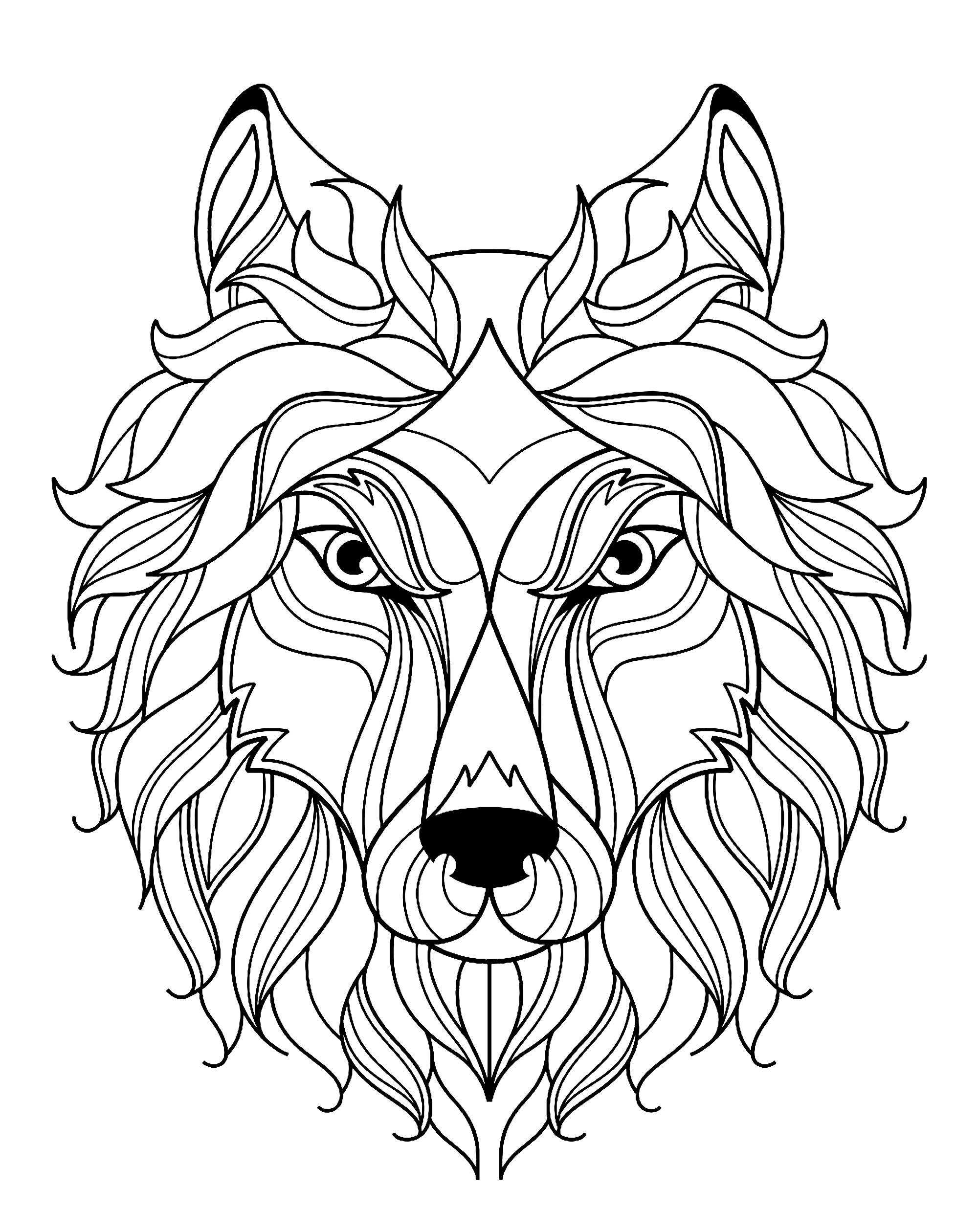 gratuit tete de loup simple coloriage de loups coloriages pour enfants. Black Bedroom Furniture Sets. Home Design Ideas