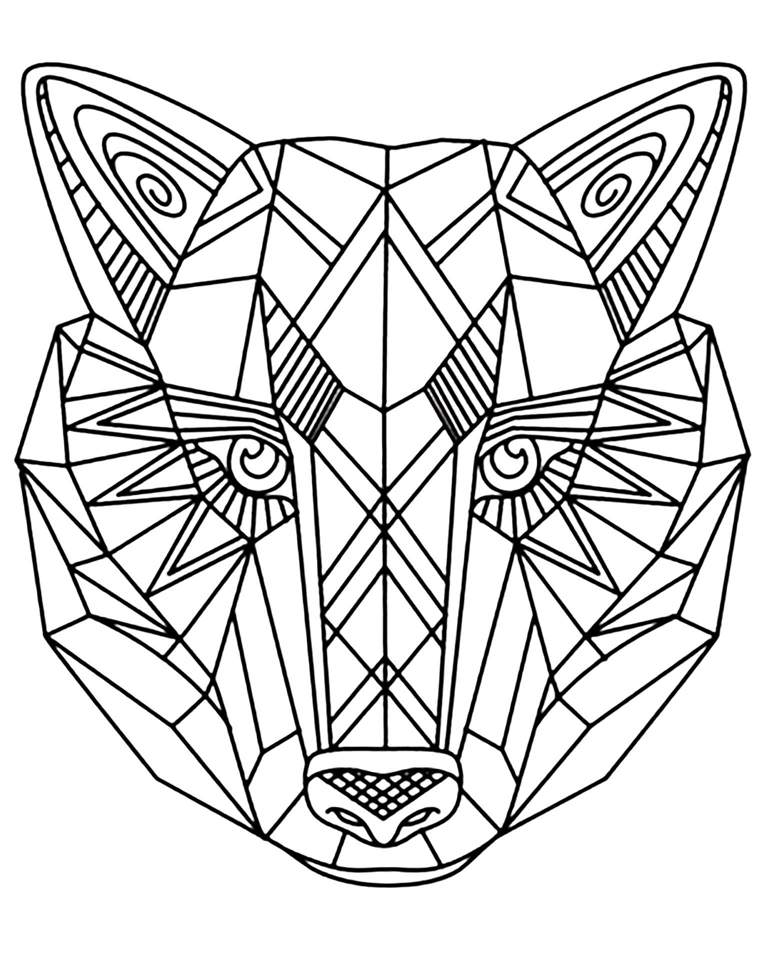Loup 1 coloriage de loups coloriages pour enfants for Disegni da colorare per adulti paesaggi