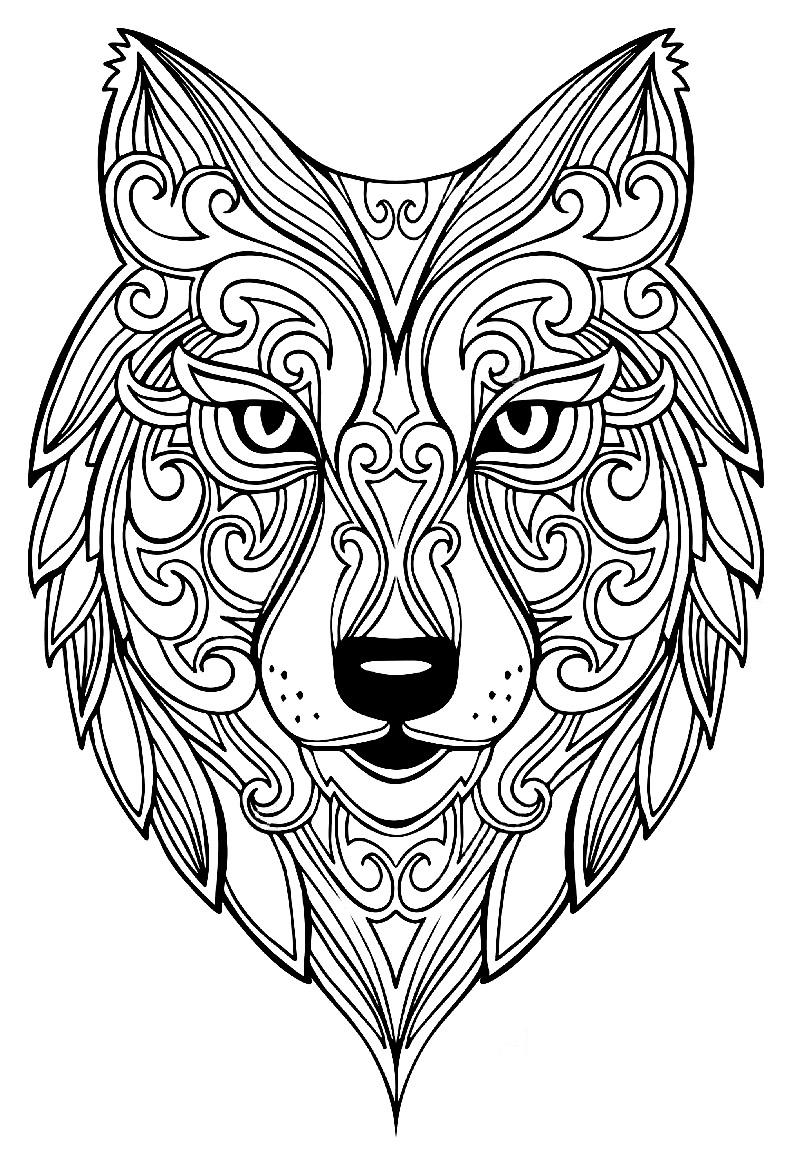 Loup 2 coloriage de loups coloriages pour enfants - Image loup dessin ...