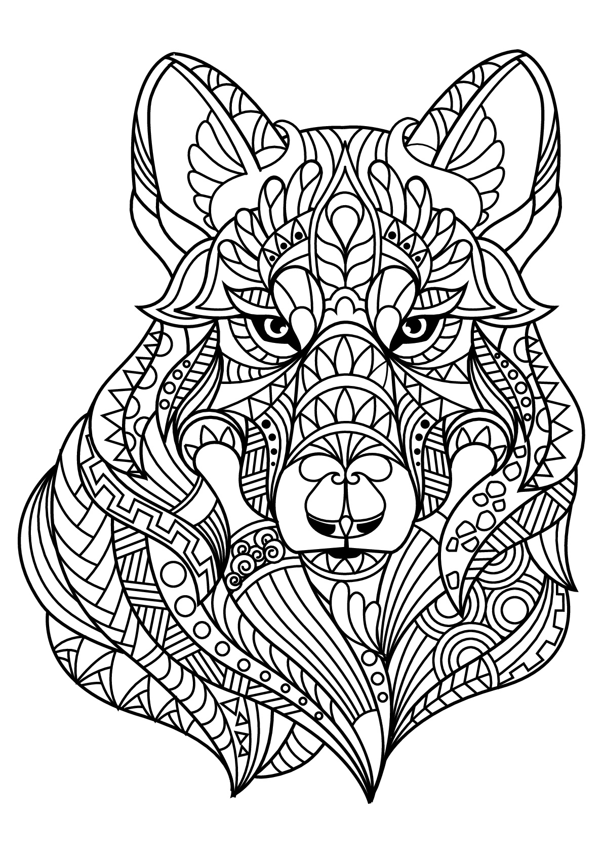 Tête de loup, avec motifs harmonieux et complexes
