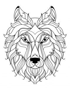 Coloriage gratuit tete de loup simple