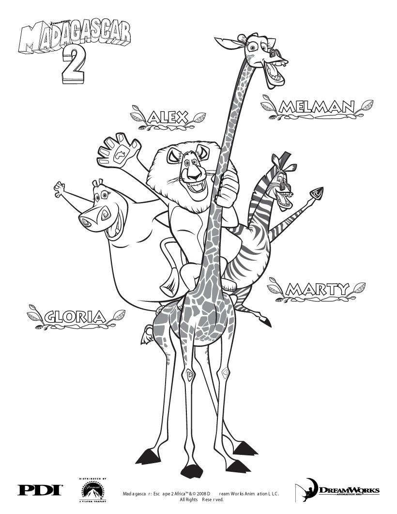 Coloriage de Alex le lion, Marty le zèbre, Melman la girafe et Gloria l'hippopotame